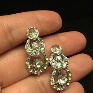 👜VINTAGE crystal twist back clip earrings